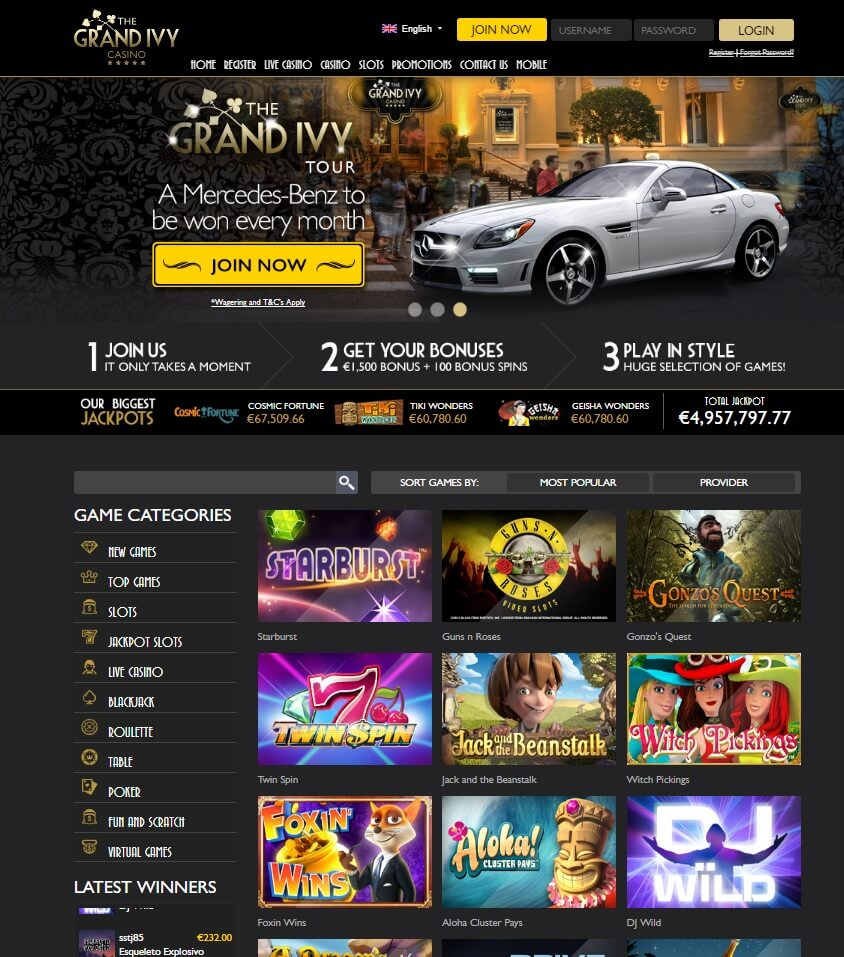 the grand ivy casino games and pokies